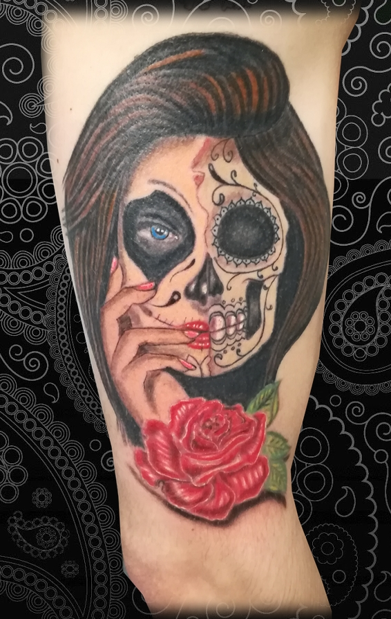 Santa muerte catrina tattoo tatouage santa muerte new tattoo studio - Santa muerte signification ...